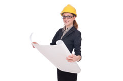 The woman architect with blueprints on white Royalty Free Stock Image