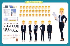 Woman architect in business suit and protective helmet. Character creation set. stock illustration