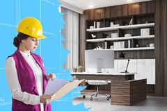 Woman architect in CEO room Royalty Free Stock Images