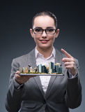 The woman architect in city urban planning concept Royalty Free Stock Image