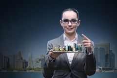 The woman architect in city urban planning concept Royalty Free Stock Photography