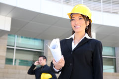 Woman Architect on Construction Site Royalty Free Stock Photos