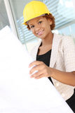 Woman Architect on Construction Site Stock Images
