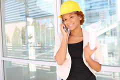 Woman Architect on Construction Site Royalty Free Stock Image