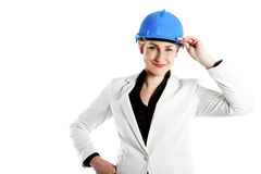 Woman architect, contractor in blue helmet Royalty Free Stock Images
