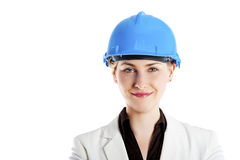 Woman architect, contractor in blue helmet Stock Images