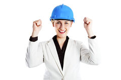 Woman architect, contractor in blue helmet Stock Photography