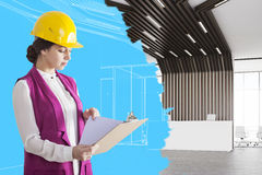 Woman architect in hall Stock Photography