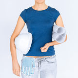 Woman architect with helmet and blueprint Royalty Free Stock Image