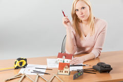 Woman architect at her work table Royalty Free Stock Photos