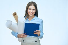 Woman architect holding blueprints with clipboard isolated portr. Ait on white Royalty Free Stock Photography