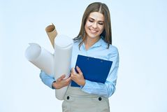 Woman architect holding blueprints with clipboard isolated portr. Ait on white Stock Photo