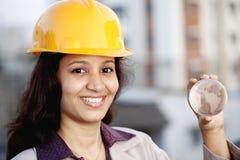 Woman architect holding a glass globe Royalty Free Stock Image
