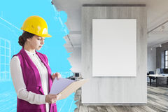 Woman architect in office Royalty Free Stock Photos