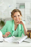 Woman architect in offive Stock Photos