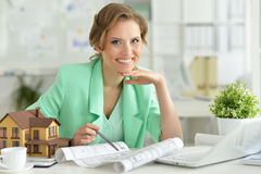 Woman architect in offive Royalty Free Stock Photos