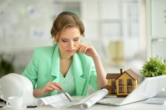Woman architect in offive Royalty Free Stock Image