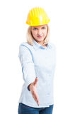 Woman Architect showing offering a hand shake Royalty Free Stock Images