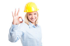 Woman architect showing ok  or approval gesture Stock Photo
