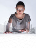 The woman architect in urban planning concept Royalty Free Stock Photo