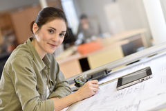 Woman architect at work Stock Photography