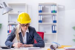 Woman architect working on the project Stock Photography