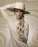 Woman with aristocratic fashion style Royalty Free Stock Image