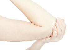 Woman arm with elbow pain and hand on white, clipping path. Woman arm with elbow pain and hand isolated on white, clipping path Stock Photo