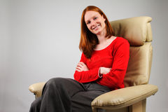 Woman in an Armchair Royalty Free Stock Photo