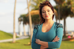 Woman with arms crossed Royalty Free Stock Photos