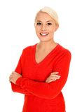 Woman with arms crossed stock photo