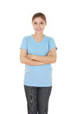 Woman with arms crossed, wearing t-shirt Royalty Free Stock Image