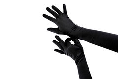 Woman arms with long gloves Royalty Free Stock Photo