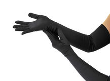 Woman arms with long gloves Stock Photos