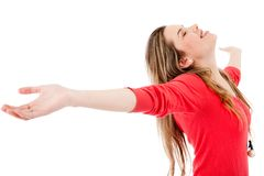 Woman with arms open Royalty Free Stock Photo