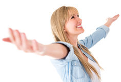 Woman with arms open Royalty Free Stock Images