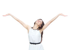 Woman with arms open feeling freedom and happines. Young pretty woman with arms open feeling freedom and happiness isolated on a white background Royalty Free Stock Image