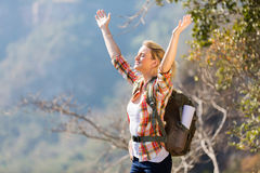 Woman arms open mountain Royalty Free Stock Photography