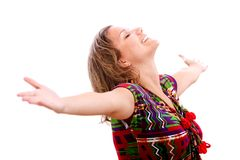 Woman with arms opened Stock Photography