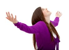 Woman with arms opened Stock Images