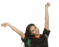 Woman with arms outstretched in celebration Royalty Free Stock Photography