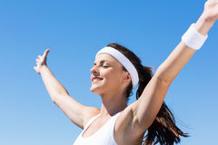 Woman arms outstretched Royalty Free Stock Image
