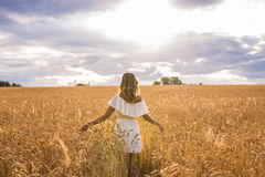 Woman with arms outstretched in a wheat field Stock Photography