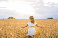 Woman with arms outstretched in a wheat field Stock Photos