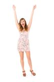 Woman with arms raised Stock Photos