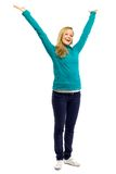 Woman with arms raised Royalty Free Stock Photos