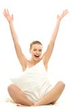 Woman with arms raised Stock Images