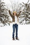 Woman with arms raised. Stock Photography