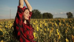 Woman with arms raised relaxing in sunflower field stock video