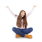 Woman with arms raised. Young woman with arms raised Royalty Free Stock Photos